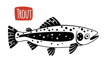 trout: Trout, vector illustration, cartoon style