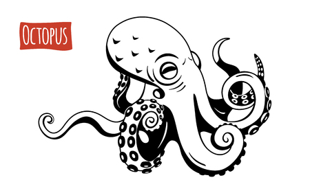 Octopus, vector illustration, cartoon style Ilustrace