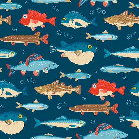 Colorful fish, vecteur seamless