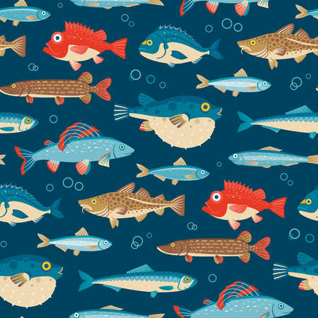 colorful fish: Colorful fish, vector seamless pattern