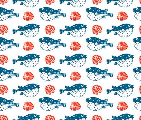 molluscs: Fugu and shells, vector seamless pattern Illustration