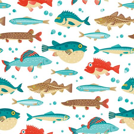 Colorful fish, vector seamless pattern