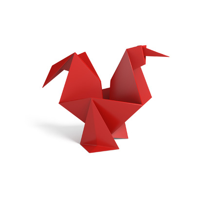 new year decoration: Rooster origami 3d illustration isolated on white background