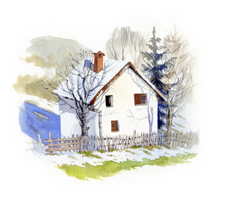 winter season: Small white house in springtime, watercolor illustration