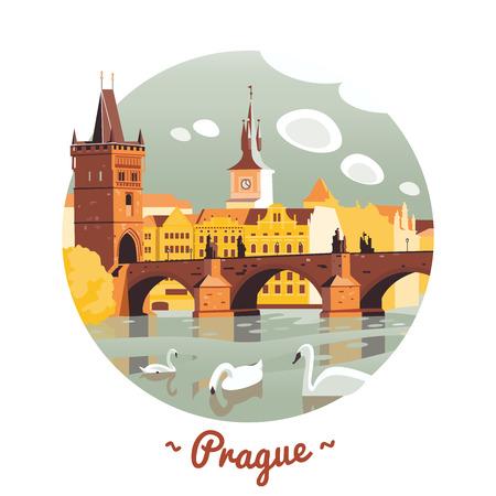 Prag Karlsbrücke Vektor Illustration