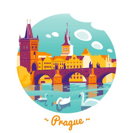 Prague Charles Bridge vector Illustration