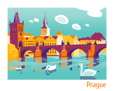 Praag Charles Bridge vector illustratie Stock Illustratie