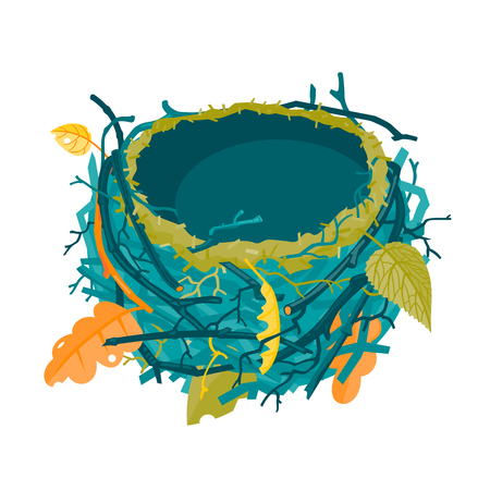 Blue and green autumn empty nest vector illustration Banque d'images