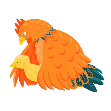 incubation: Red chicken mother with a yellow chick vector illustration cartoon style