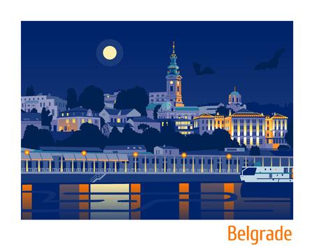 Nachtansicht von Belgrad flache Vektor-Illustration
