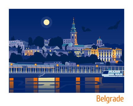 Night view of Belgrade flat vector illustration  Stock Photo