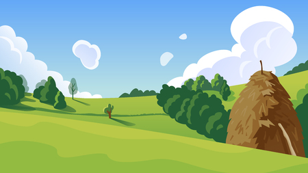 Summer landscape with a haystack on a hill vector illustration