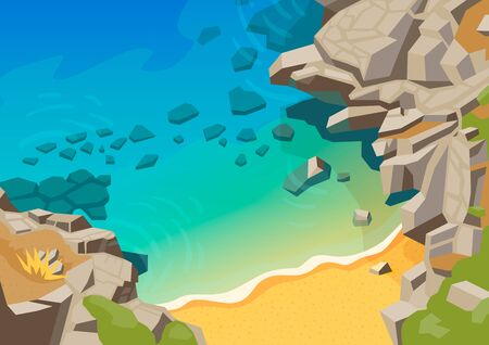 Sea landscape with rocks and beach vector illustration