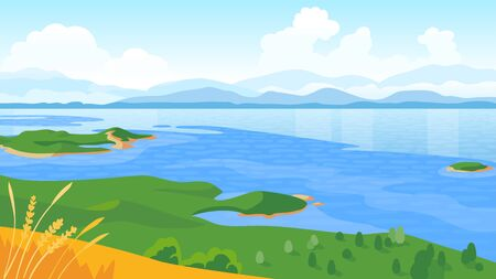Summer landscape with sea and mountains vector illustration Stock Photo