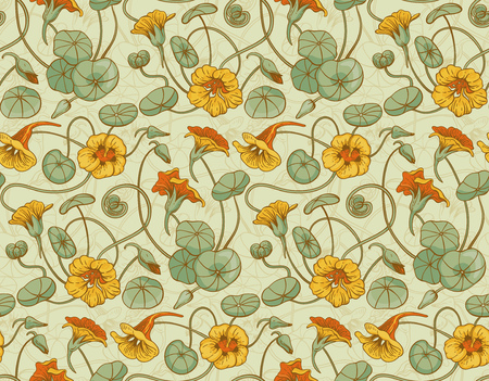 nasturtium: Seamless vector pattern with red and yellow nasturtium flowers and leaves on beige background. Suitable for backgrounds, textile, wrapping paper.
