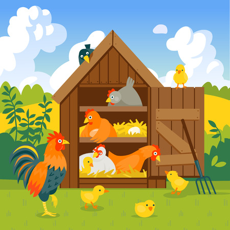 Henhouse with cute hens, chicks and rooster in summer landscape vector illustration cartoon style