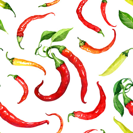 Seamless pattern with red, yellow and green chili peppers and leaves painted with watercolor. Suitable for backgrounds, textile, wrapping paper. Stock Photo