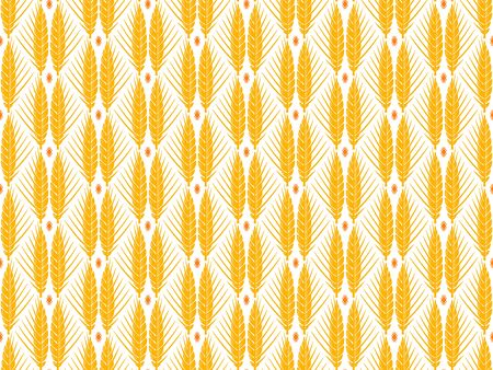 Wheat rye barley cereal ears vector seamless pattern on white background. Agriculture farming decorative symbol.