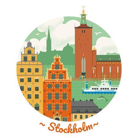 Stockholm poster illustration Ilustração