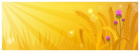 Vector country rural sunny landscape scene with wheat field and sun rays cartoon style Ilustrace