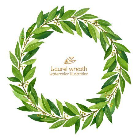 Laurel Bay wreath watercolor illustration