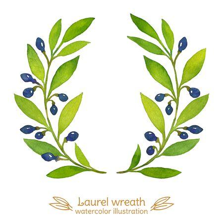 Laurel Bay branches watercolor illustration