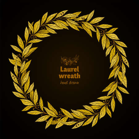 Laurel Bay golden wreath on black detailed hand drawn illustration