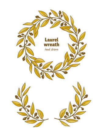 Laurel Bay golden wreath, leaves, branches and fruits detailed hand drawn illustration