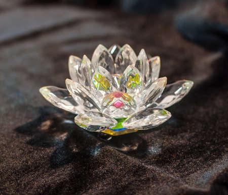 Colorful crystal lotus on the black velvet