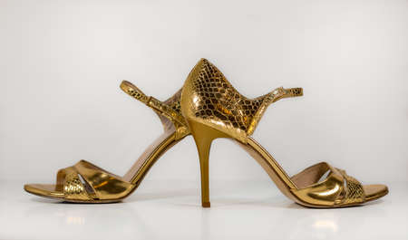 Pair of gold woman tango shoes - beautiful dance from Argentina