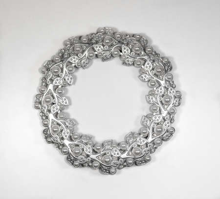 silver frame: Oval silver photo frame with pearls Stock Photo