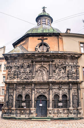 lvov: Medieval monument in the center of Lvov - tomb is made from stone with beautiful sculptures