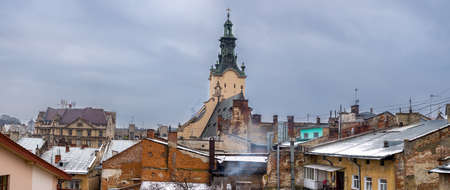 lvov: Winter panorama - landscape of old town Lvov in Ukraine with red roof