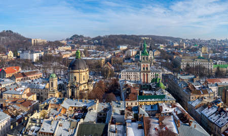 lvov: Winter panorama - landscape of Lvov in sunny day from tower