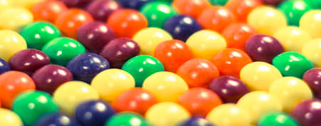 Multi colored pills or bubbles background vitamins close up Stock Photo