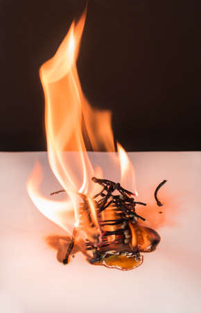 Burning matches house - games with fire ends with accident Stock Photo