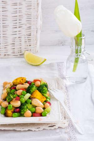 paneer: Vegetarian spring oriental salad with cheese paneer Stock Photo