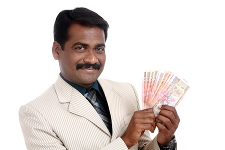 Indian business man with Indian money  photo