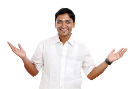 dhoti: Traditional Indian young man posing to the camera.