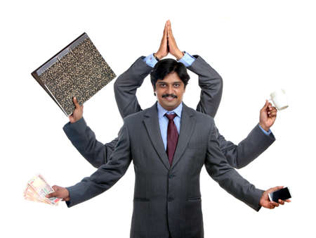 Indian business man with multy hand on white  photo