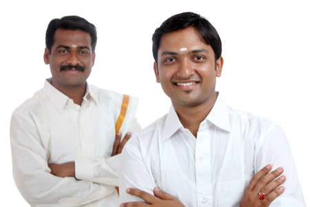 dhoti: Traditional Indian young people posing to the camera.
