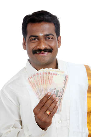 Indian business man with Indian money  Stock Photo