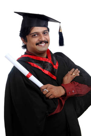 Indian graduate on white background.  photo