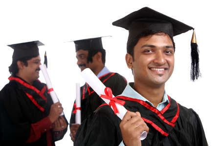 Indian graduates isolated on white background.  Stock Photo