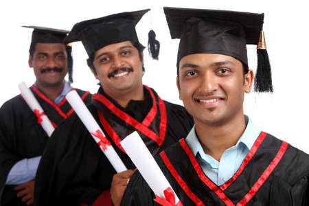 Indian graduates isolated on white background. Stock Photo - 12176630