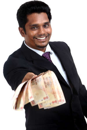 rupees: Indian business man with Indian money  Stock Photo