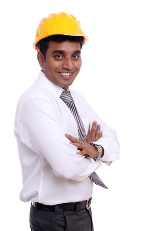 Young indian architect posing to the camera photo