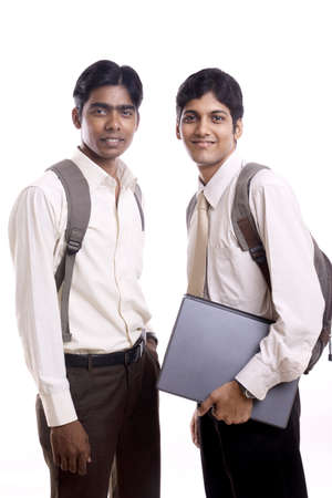 Indian collage students posing to the camera.  photo