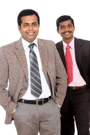 Two Indian business people posing to the camera, isolated on white. Stock Photo - 12225581