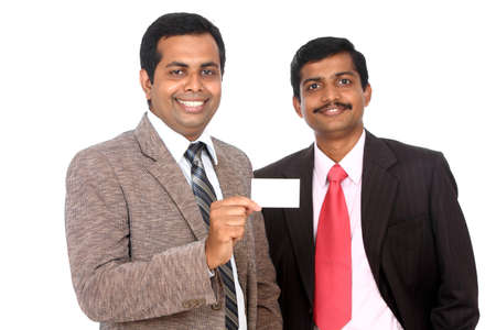 Two Indian business people showing theirs business card, Isolated on white.  Stock Photo - 12225429